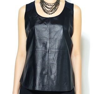 Saks Fifth Avenue Black Label Leather Top